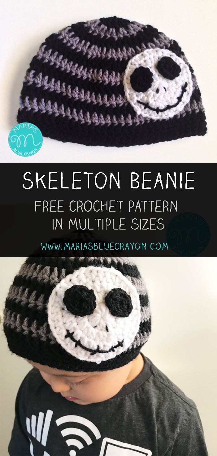Skeleton Beanie | Jack Skellington | Nightmare Before Christmas | Free Crochet Hat Pattern | Pattern sizes: Baby, Toddler, Child, Adult