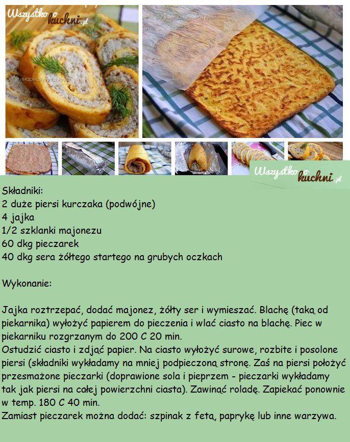 Przepis na roladę serową z kurczakiem i pieczarkami...
