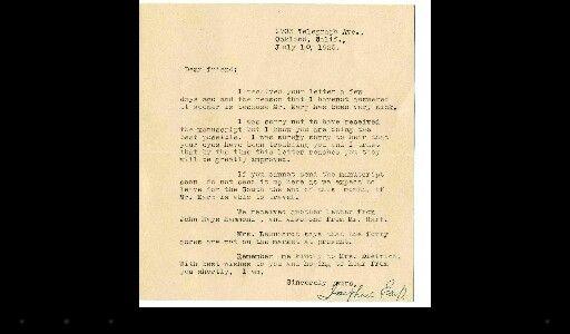 Letter by Josie Earp