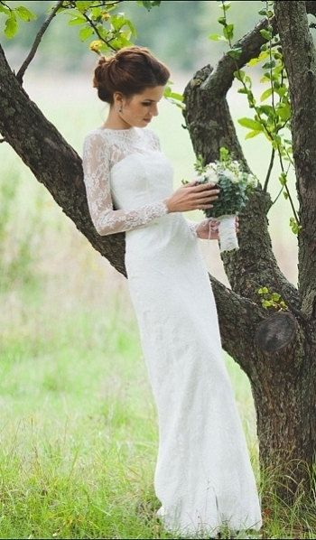 Fitted Style Lace Long Wedding Dress with Lase Sleeves M38, Ivory Lace Wedding…