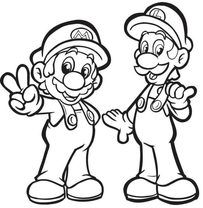 mario with luigi coloring pages