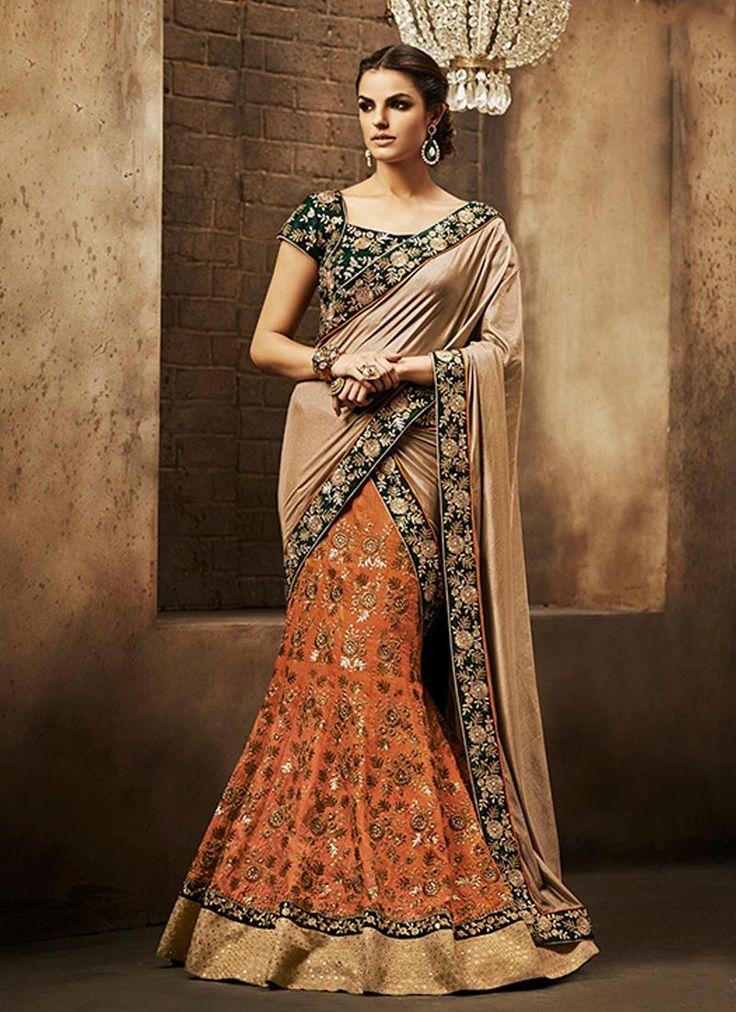 Beautiful Faux Chiffon Orange Embroidered Work Designer Saree