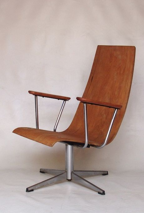 Anonymous; Plywood and Chromed metal Swivel Chair by Goldsiegel, 1960s.