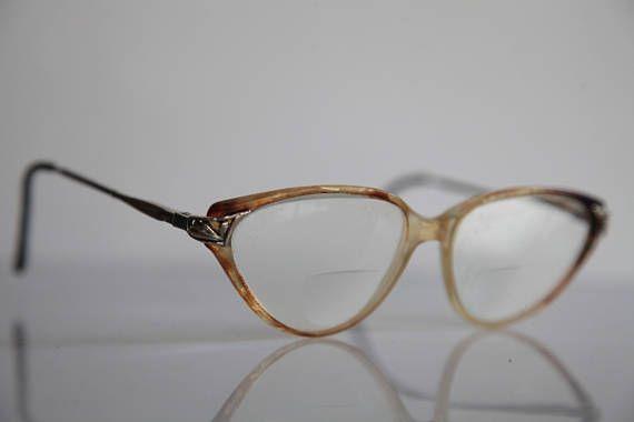 Vintage  Crystal Brown Frame,  Gold Temples, RX Prescription Lenses.
