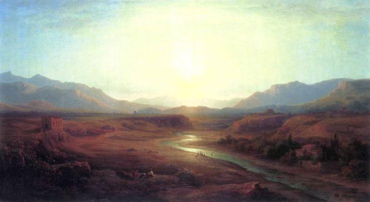 Paysage italien de Antal Ligeti (1823-1890, Romania)