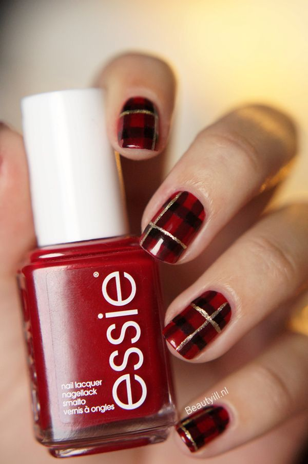 Pretty red, black & gold plaid nail art - Pretty for Christmas & Winter in  general.# are you ready ladies? - Best 25+ Plaid Nail Art Ideas On Pinterest Plaid Nails, DIY Red