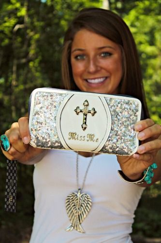 Miss Me Glitter Glam Wallet - White $39.99 #SouthernFriedChics