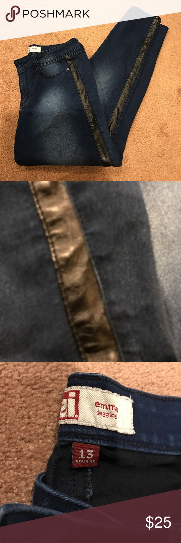LEI Emma stretch faux leather jegging jean Gorgeous and ultra comfy. Feature faux leather trim. Worn twice in excellent used condition L.E.I. Jeans Skinny
