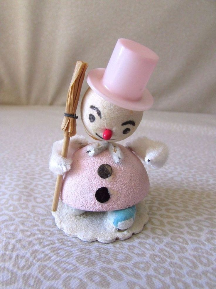 Vintage Pink Hat Pipe Cleaner Bobble Head Snowman Christmas Figure Japan