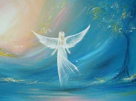 Limité à angel art affiche « believe in your dreams » - moderne ange contemporain peinture, illustration, photo impression, papier glacé,