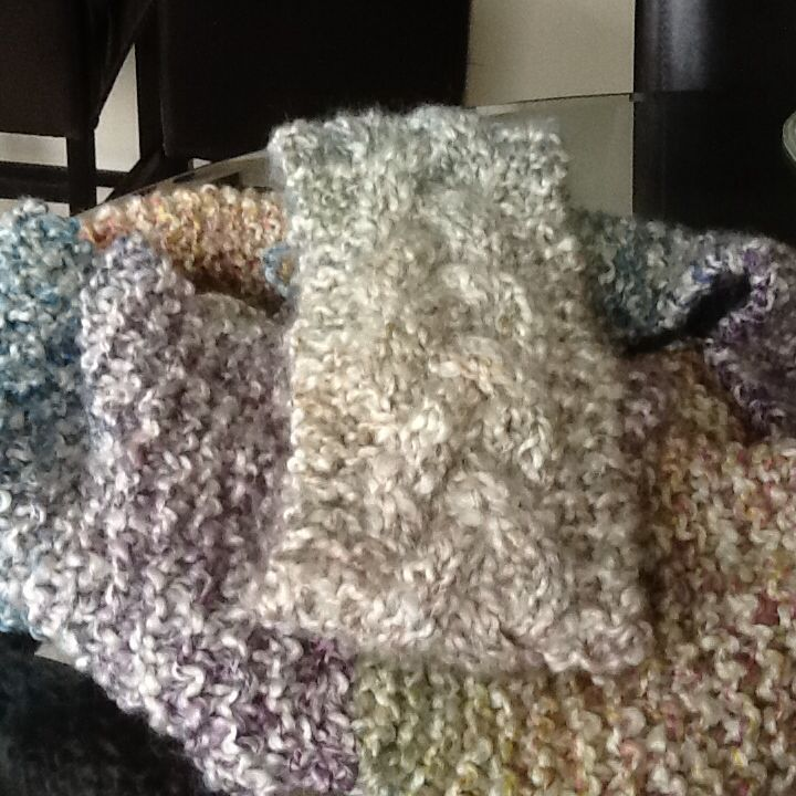 infinity scarf and ear warmer, knitted