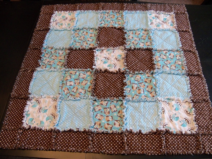Baby Rag Quilt With Owls In Turquoise Flower Prints