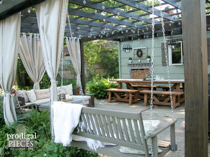 Rustic Patio with DIY Pergola, Dining, and Entertaining Area by Prodigal Pieces | www.prodigalpieces.com