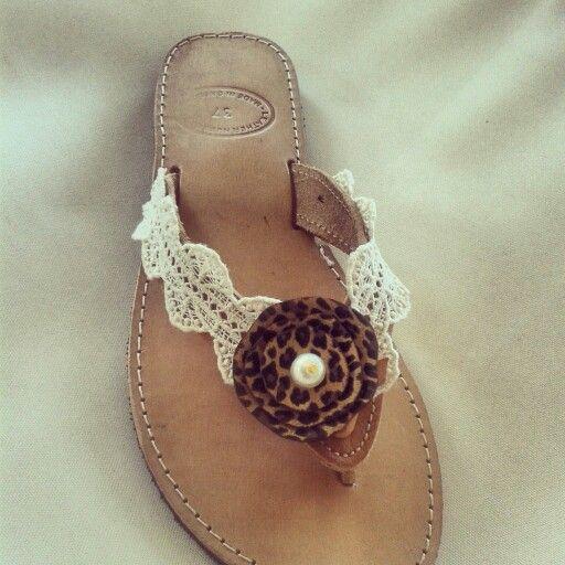 Leathr Sandals Animal print with lace. Handmade by Elena Tsiara. #handmade #sandals #wedding # lace #σανδάλια #σαγιονάρες χειροποίητες. FG PAGE : ELENAS SANDALS AVAILIABLE IN MANY SIZES!!!