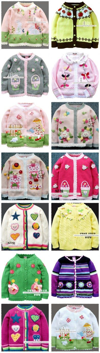 Идеи декора детских кофточек