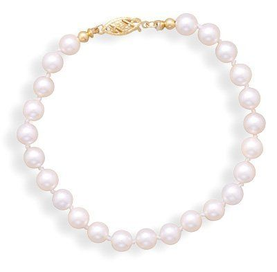 """8"""" 5.5-6mm Grade AAA Cultured Akoya Pearl Bracelet with a 14K Yellow Gold Clasp BillyTheTree Jewelry. $166.95. Satisfaction guaranteed. Solid 14K yellow gold"""