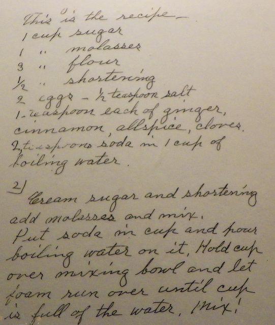 1st part of Laura Ingalls Wilder's handwritten gingerbread recipe in Herbert Hoover exhibit
