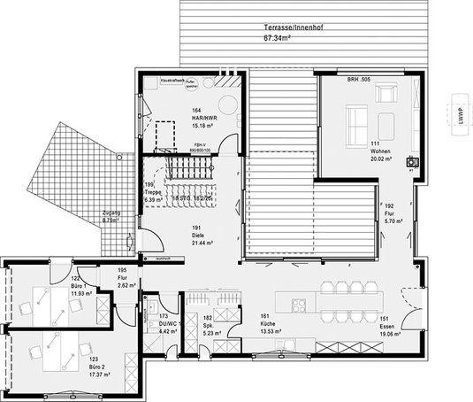 Neues musterhaus bad vilbel einfamilienhaus atrium von for Grundriss efh modern