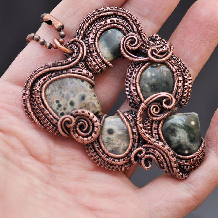 ocean jasper necklace | wire wrap pendant | wire wrap necklace | wire wrap ocean jasper | copper jewelry | copper necklace | goddess necklace | green jewelry | greenery