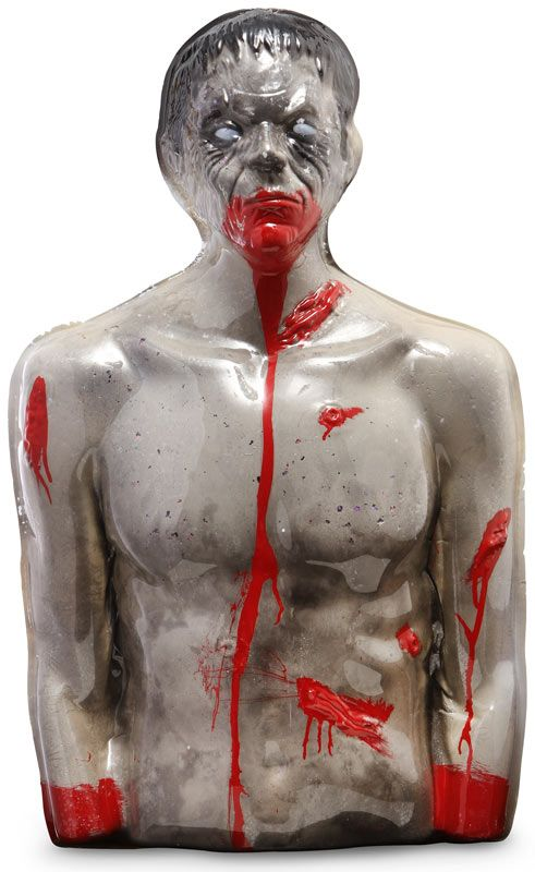 Zombie shooting target that bleeds when hit  Head, shoulder and torso of a zombie horror  32 inches x 20 inches x 6 inches, 6 pounds