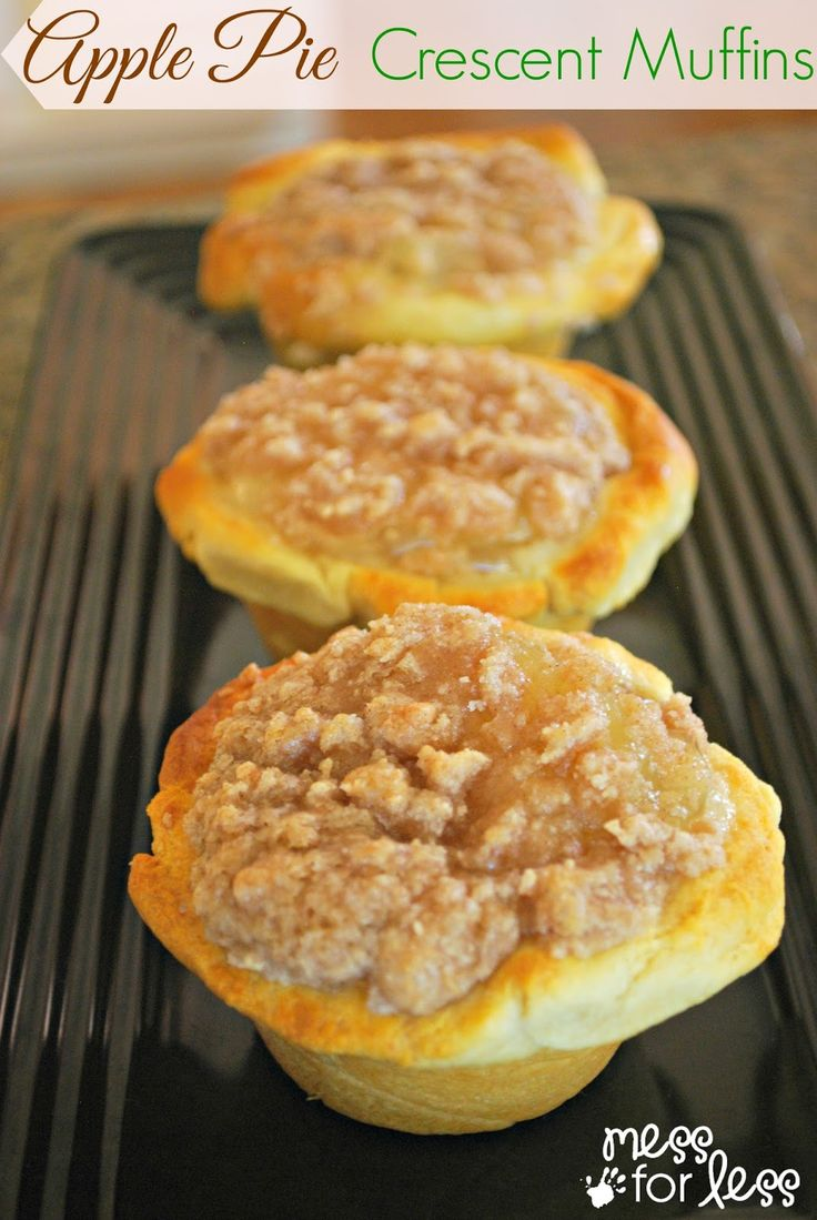 Apple Pie Muffins Using Crescent Rolls - These are so simple to make and use popular crescent rolls. My kids helped me make these so you know it's easy!