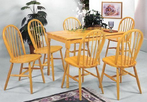 """7 Piece Dining Furniture Set with 6 Chairs and Table in a Golden Oak Finish by The Furniture Cove. $504.88. All are done in a Golden Oak Finish. Dining Chairs are Spindle Back Design. Set of 6 Chairs with Table. The table measures 30"""" x 48. Chairs are 36"""" to Top of back rest. This listing is for the entire 7 piece set! It includes the farmhouse style table with a golden oak finish and 6 spindle back dining chairs done in the same finish. The table measures 30"""" wide..."""