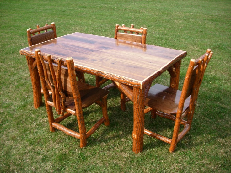 Log Kitchen Table And Chairs Part - 27: Sassafras Walnut Rustic Log Kitchen Table + 4 Chairs Amish Made In USA