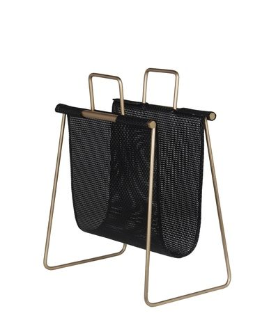 Gold Finish Metal and Resin Wicker Magazine Rack