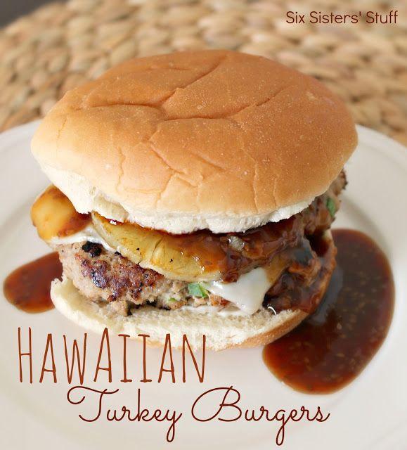 Hawaiian Turkey Burgers Recipe   Six Sisters' Stuff- except with my turkey burger recipe. Love pineapple!