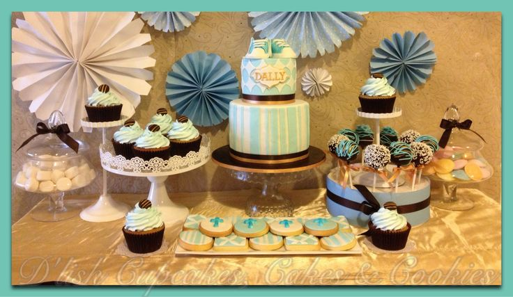 Christening dessert table. Made by D'lish cupcakes & Accessories