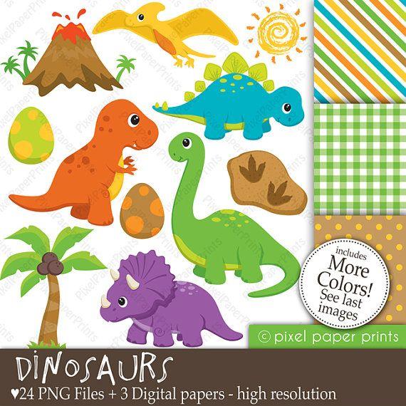 Dinosaurs  Clip Art and Digital Paper Set by pixelpaperprints, $6.00