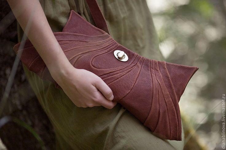 """Купить Сумка кожаная """"Винтаж клатч"""" - коричневый, кожаный клатч, Кожаная сумка, подарок женщине"""