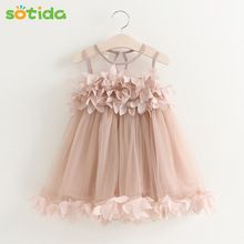 Sotida Girls Dresses 2018 Sweet Princess Dress Baby Kids Girls Clothing Wedding Party Dresses Children Clothing Pink Applique(China)