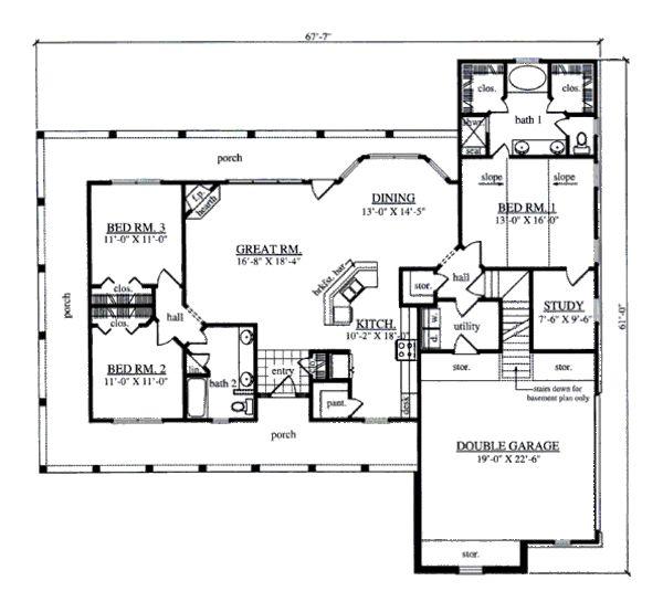 Farmhouse Style House Plan - 3 Beds 2 Baths 1817 Sq/Ft Plan #42-393 Floor Plan - Main Floor Plan - Houseplans.com