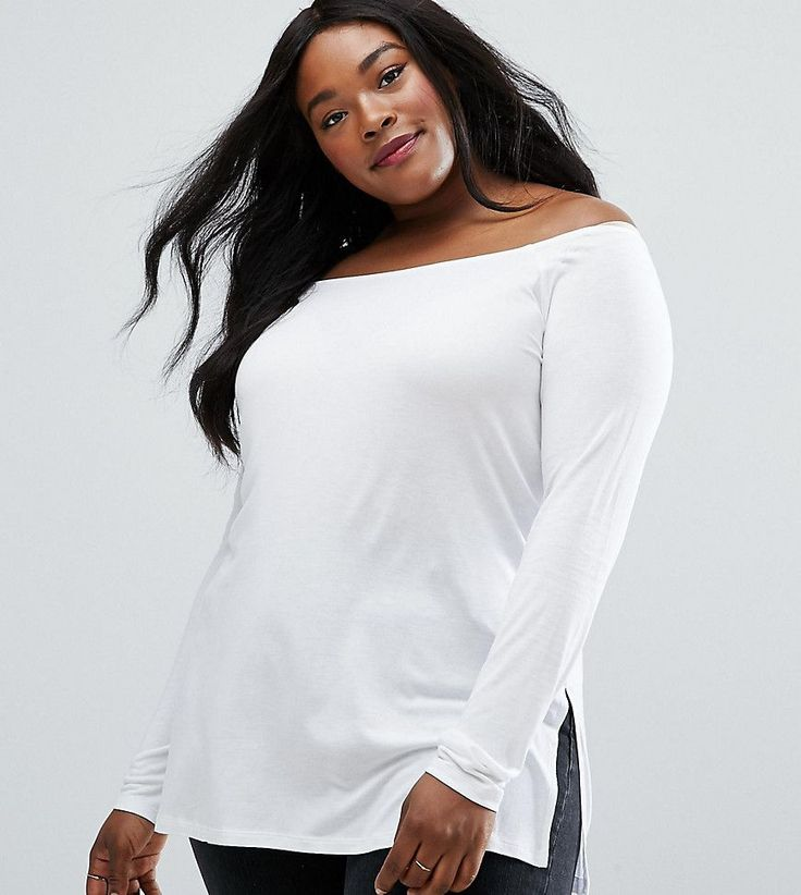 ASOS CURVE Off Shoulder Slouchy Top With Side Split - White
