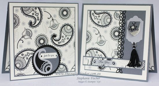 Stampin Up, #thecraftythinker, Paisleys & Posies, Monochrome