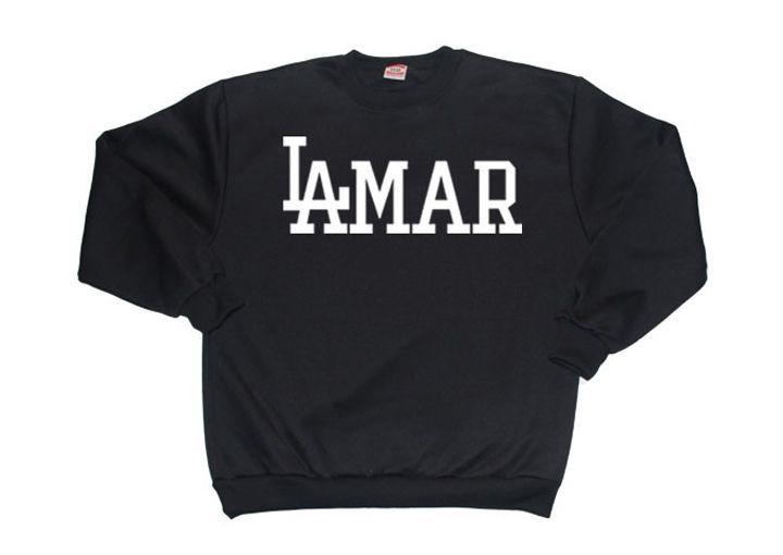 LAMAR Crewneck Kendrick Lamar TDE t shirt sweatshirt schoolboy Q rap (BLACK)
