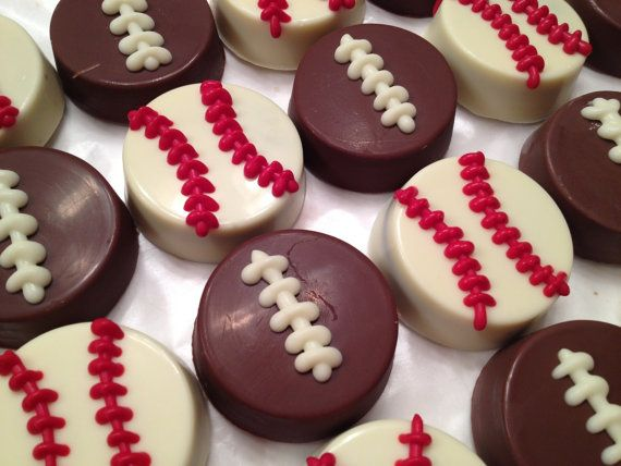 Sports Themed Chocolate Covered Double Stuffed Oreos (Baseball & Football) - 1 dozen (12)
