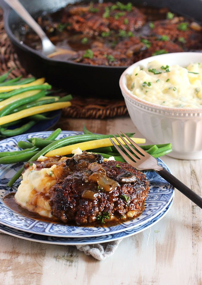 Seriously the BEST EVER Salisbury Steak recipe with Mushroom Gravy. A hearty and satisfying weeknight dinner ready in 30 minutes.
