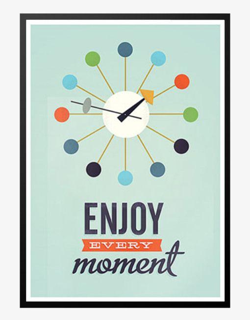enjoy every moment retro plakat