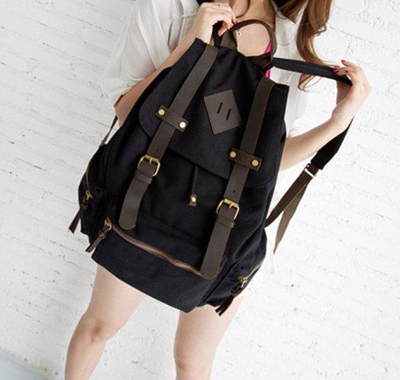 Laptop Bag / Black Canvas-Leather Backpack/ Canvas Backpack / Handmade bag / School Bag
