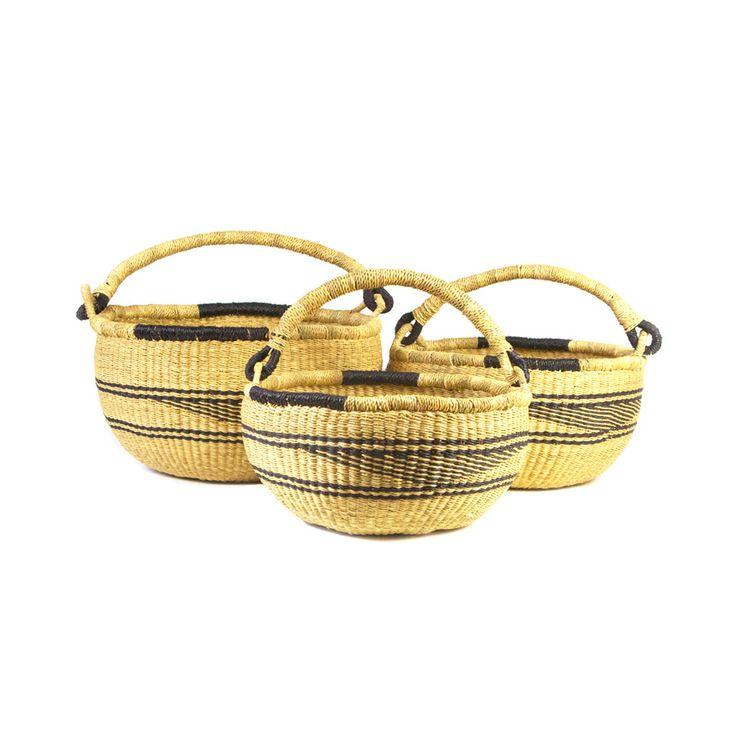 Set of 3 Nesting Bolga Baskets, handwoven from elephant grass in Ghana.