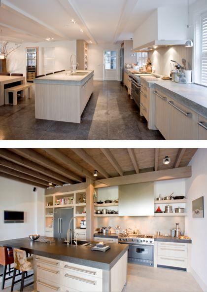 Massief eiken houten keuken met betonnen bladen. The Living Kitchen by Paul van de Kooi