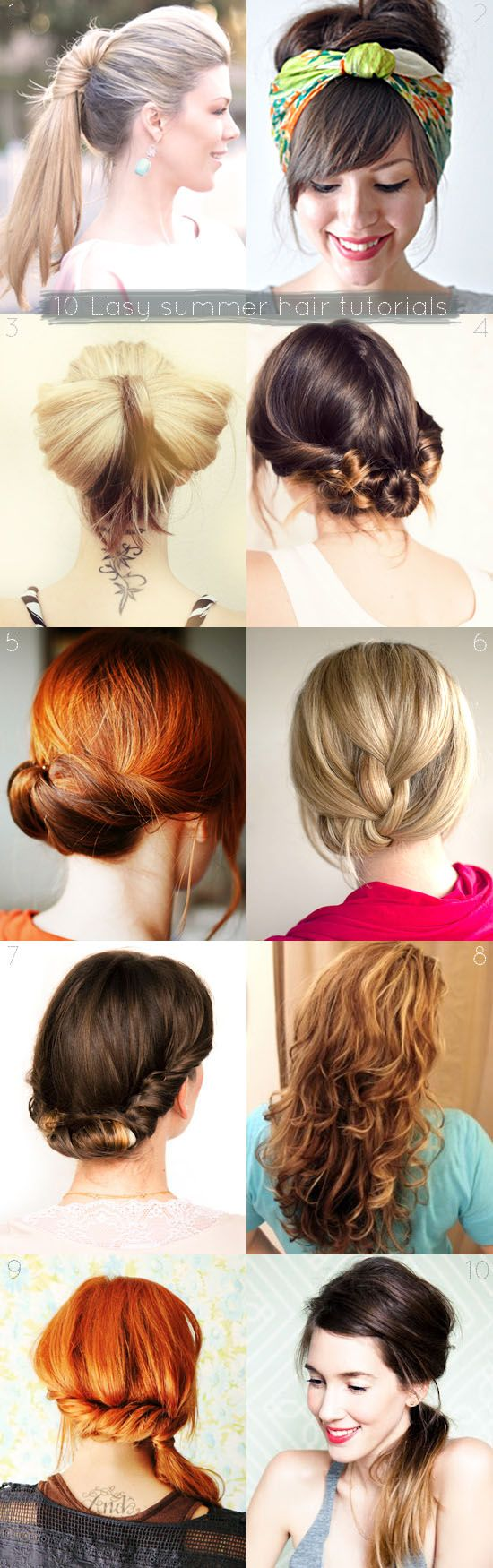 10 easy and quick summer hair tutorials. For when you want to look good but it's just too hot to stand in front of the mirror for a long time. . . @ By Wilma. I'm gonna try this sock bun idea to make curly hair