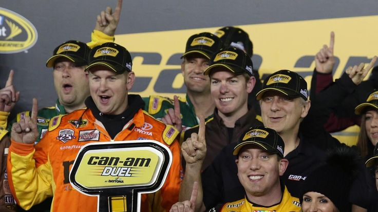 Daytona 500 Qualifying Stephen M. Dowell / Orlando Sentinel Kyle Busch celebrates in Victory Lane after winning the Can-Am Duel #2 Sprint Cup qualifying race at Daytona International Speedway on Thursday, February 18, 2016. (Stephen M. Dowell/Orlando Sentinel)
