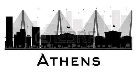 Horizonte de la ciudad de Atenas negro y blanco de la silueta. Ilustración del vector. concepto de plano simple para la presentación turismo, bandera, cartel o página web. el concepto de viaje de negocios. Paisaje urbano con famosos