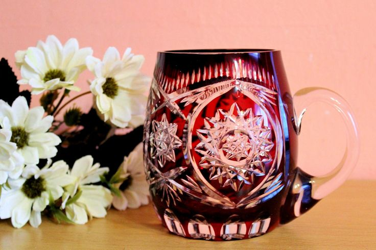 Antique Bohemian Ruby Red Cut Glass Beer Stein Mug Krug Vintage Glass by Grandchildattic on Etsy