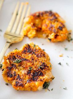 SWEET POTATO QUINOA PATTIES. Instead of baking, stab with fork and put in microwave for 10 mins with a cup of water. Save some time!