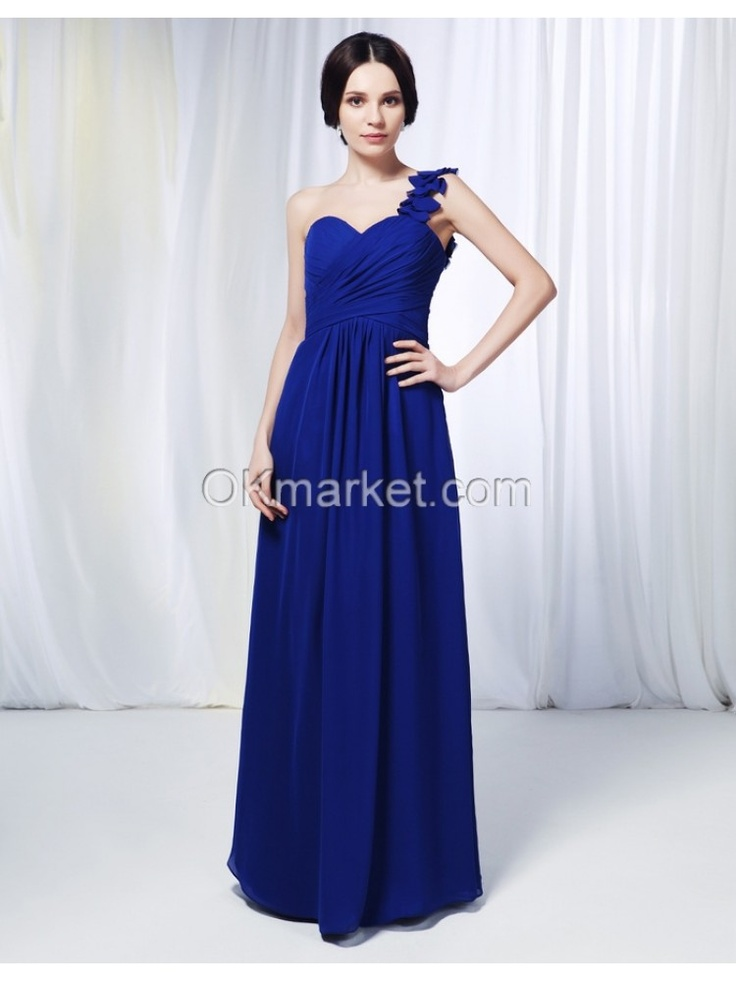 Chiffon Sheath One Shoulder Floor Length Navy Blue Bridesmaid Dress 	$127.50
