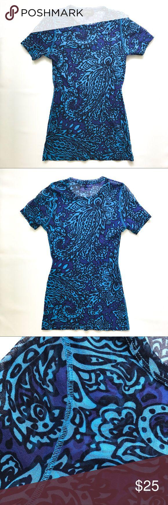 Karen Kane sheer top Karen Kane paisley print pretty blues sheer top Karen Kane Tops Tees - Short Sleeve